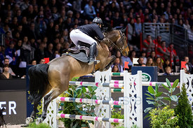 Bordeaux, France, 4.2.2018, Sport, Reitsport, Jumping International de Bordeaux - Grand Prix LAND ROVER .Trophée MAIRIE DE BORDEAUX. Bild zeigt Aldrick CHERONNET (FRA) riding Tanael Des Bonnes (5*)...4/02/18, Bordeaux, France, Sport, Equestrian sport Jumping International de Bordeaux - Grand Prix LAND ROVER .Trophée MAIRIE DE BORDEAUX. Image shows Aldrick CHERONNET (FRA) riding Tanael Des Bonnes (5*).