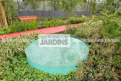 Contemporary garden, Lady's mantle, Perennial, Pool, Low wall stone, Digital, Path, Scenery