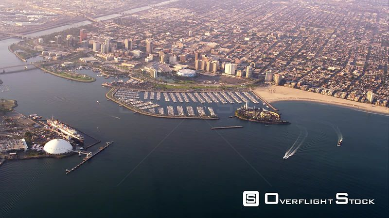 Aerial View Of Long Beach Downtown, Marina And Ocean Liner Queen Mary, RED R3D 4k California