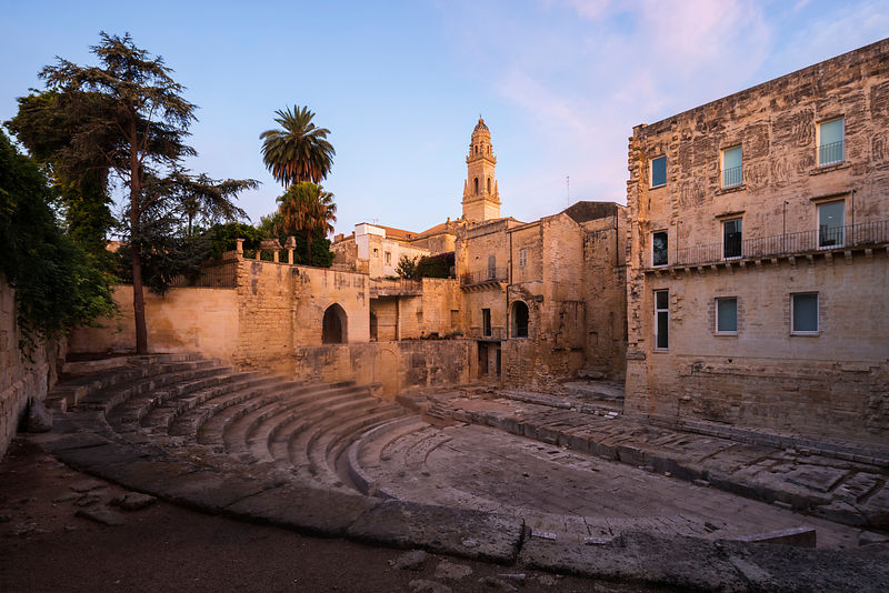 View of the Greek Theatre and the Duomo dell'Assunta at Sunrise