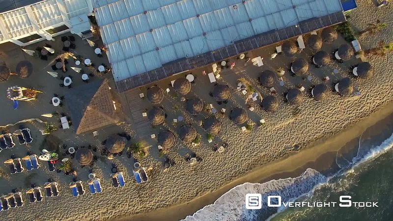 Aerial view of the sandy beaches at Canet-en-Roussillon, filmed by drone, France