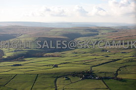 Lancashire Farm land aerial photograph showing the field patterns in the ancient landscape of the Moorlands Inchfield and Todmorden Moors