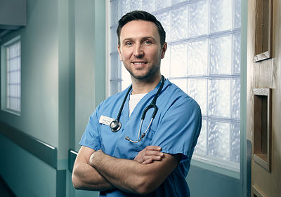 On set portrait of Alex Walkinshaw in Casualty