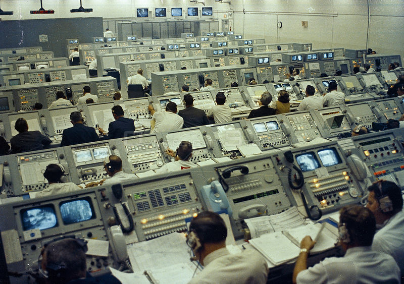 CONTROL ROOM DURING APOLLO 8 LAUNCH ACTIVITIES