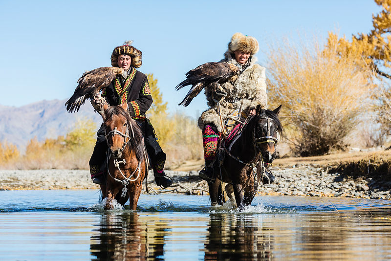 Kazazh Eagle Hunters on Horseback