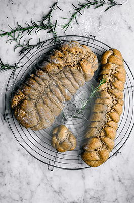 Rosemary, garlic, and olive oil plaited rye breads