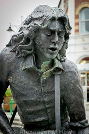 Statue in memory of rock guitarist Rory Gallagher in the town of his birth, Ballyshannoon - sculpted by David Annand