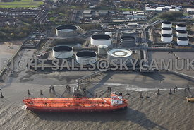 Birkenhead aerial photograph of The ESSAR Tranmere Oil Terminal and the Bergina Oil Tanker