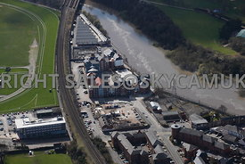 Chester aerial view of the area of the Old Port of Chester Saddlery Way and Kitchen Road