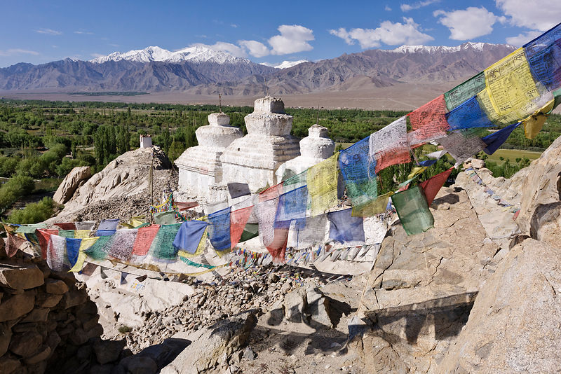 Prayer Flags and Stupas at the Shay Palace