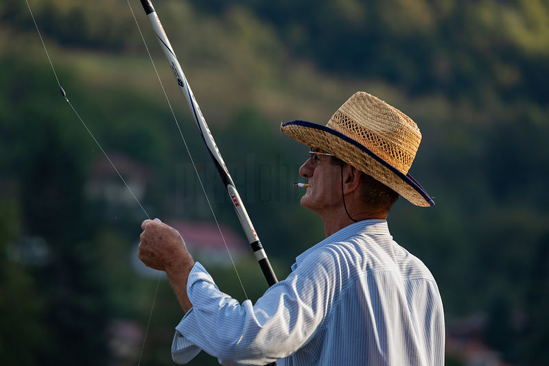 A Fisherman Prepared to Cast his Line into the Drina River