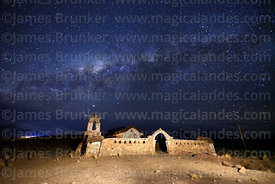 Milky Way Galactic Centre above rustic church at Lagunas, Sajama National Park, Bolivia