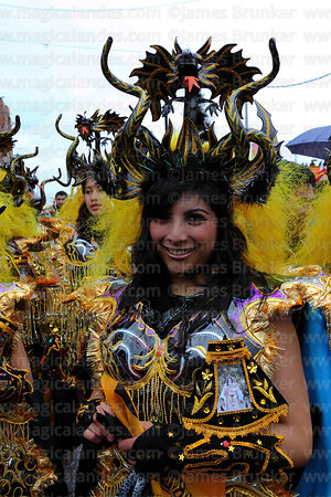 Female diablada devil dancer at Virgen de la Candelaria festival, Puno, Peru