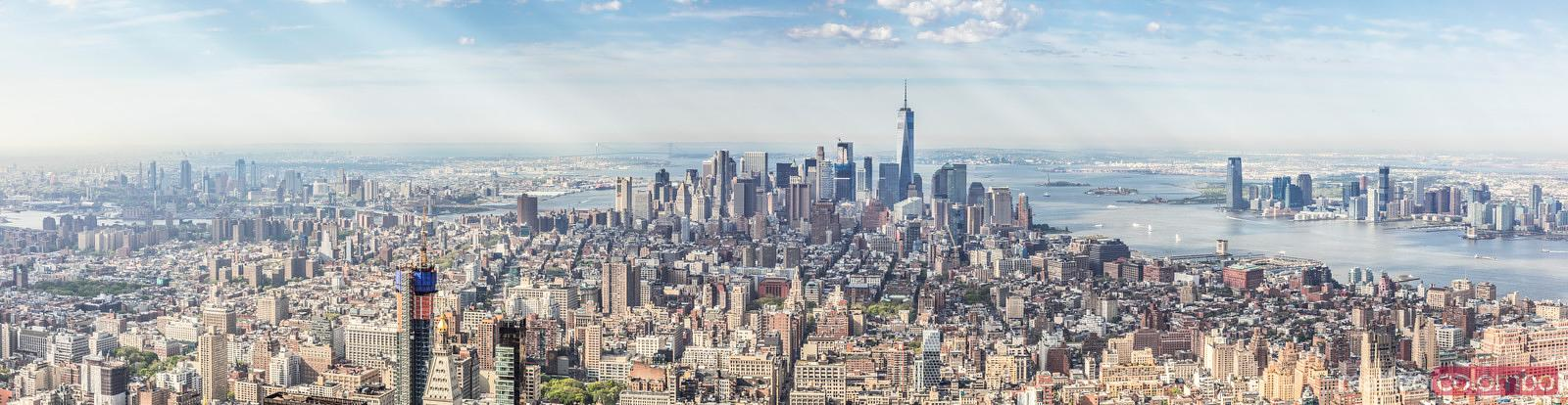 Aerial panorama of lower Manhattan at daytime, New York, USA