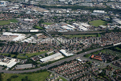 aerial photograph of the area around Moor Road, Leeds LS10 2JJ