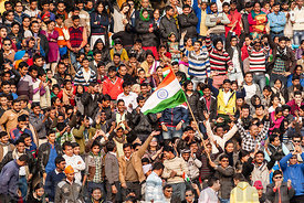 Crowd of Indian people at Wagha border crossing.