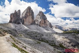 Three peaks in summer from north side Dolomites Italy