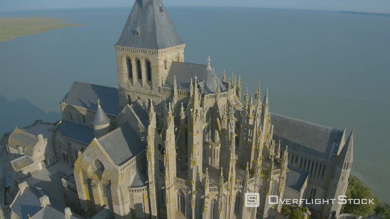 The Mont Saint-michel Cathedral, Filmed by Drone at Sunrise, Normandy, France