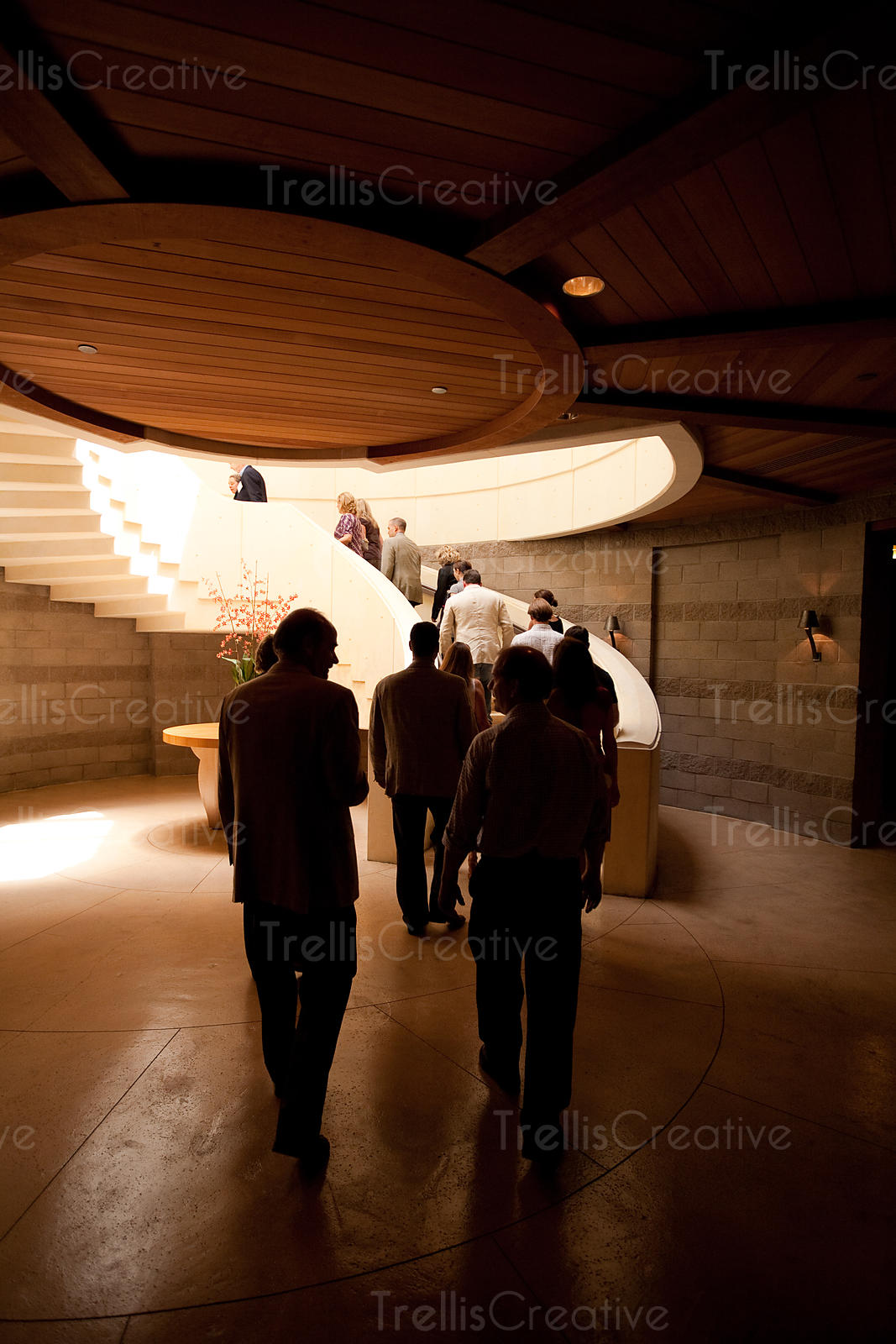 Tourists ascend the spirial staircase at Opus One winery in Napa Valley