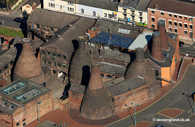 The Potteries : aerial photograph of the Gladstone Potteries museum in  Stoke-on-Trent, Staffordshire UK
