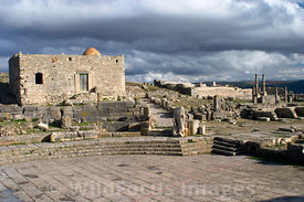 Looking east from the Square of the Winds. Note the small mosque built ont he ruins of the of the temple to Augustus fortune, Venus, Concordia and Mercury; Tunisia; Landscape