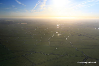 aerial photograph of the  Halvergate Marshes on the  Norfolk Broads England UK