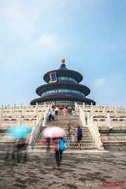 Tourists at Hall of Prayer for Good Harvests, Temple of Heaven. Beijing, China.