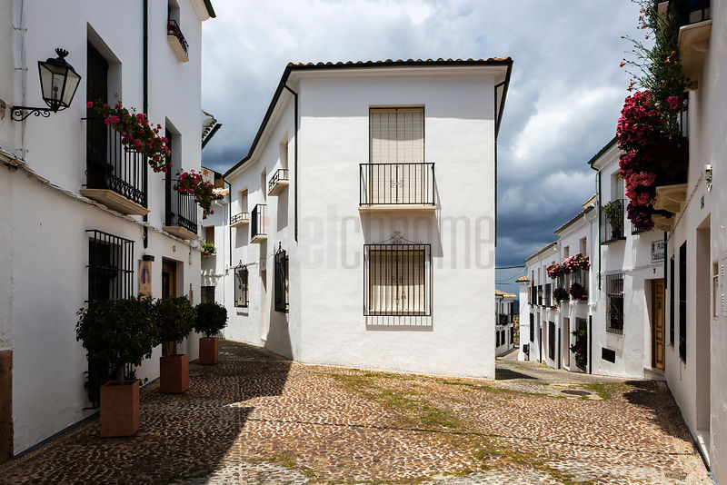 Street View of the Old Moorish Section of a Typical Andalucían Town
