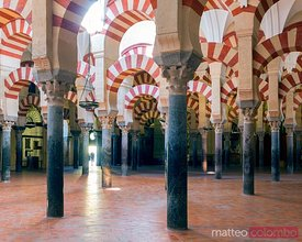 Famous archways inside the Mosque of Cordoba, Spain