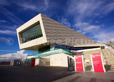 The modern Architecture of The Museum of Liverpool against a Blue Sky