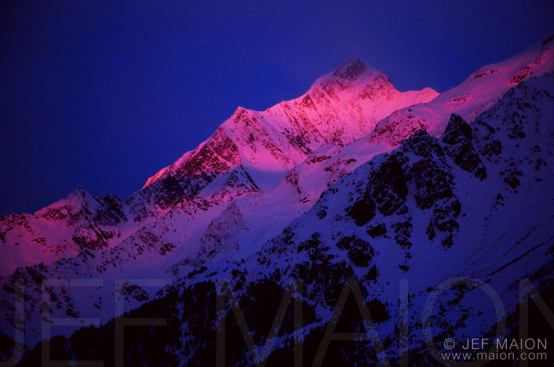 Alpenglow on the Bionnassay Aiguille