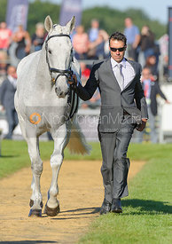 Neil Spratt and UPLEADON - The final vets inspection (trot up),  Land Rover Burghley Horse Trials, 8th September 2013.