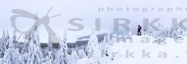 Snowshoer on top of the Ukko-Koli hill