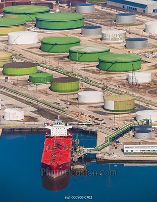 Tank farm and tanker at Houston oil terminal