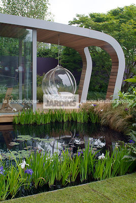 Aquatic garden, Aquatic Iris, Chair, Contemporary garden, Garden furniture, Iris pseudacorus, Pool, Resting area, Water Iris, Digital, Summer