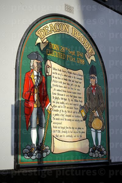 Sign detailing the life of the Deacon Brodie