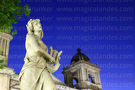 Statue representing music and cathedral tower after sunset, Plaza Murillo, La Paz, Bolivia