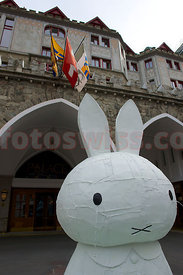 SAM St.Moritz Art Masters 2012 SAM Walk of Art. Tom Sachs. Miffy Fountain