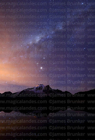 Milky Way Galactic Centre and Mars above Mt Huayna Potosí, Cordillera Real, Bolivia
