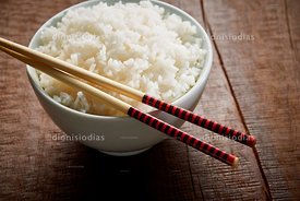 Bowl of rice in close