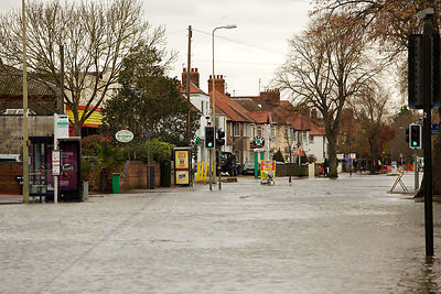 The Abingdon Road lies Empty due to Flood Waters