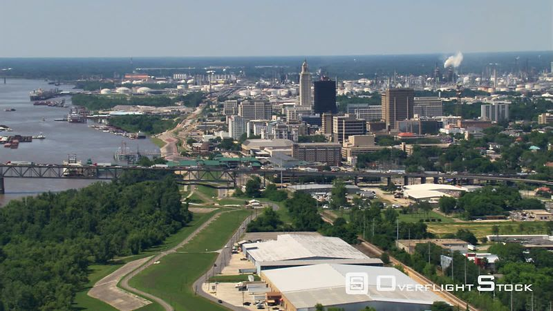 Downtown Baton Rouge, Louisiana, viewed from flight crossing Mississippi River.