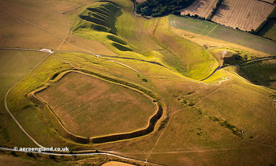 Uffington Castle univallate hillfort Oxfordshire from the air