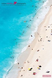 Aerial view of crowded beach and sea, greek islands
