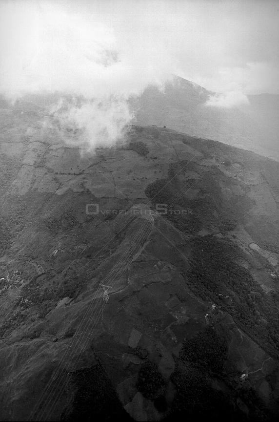 COLOMBIA Andes Aerial view of electricity pylons in the southern Andean region of Colombia 01/1997  Picture © Jon Mitchell / Lightroom Photos