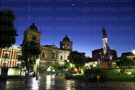 Cathedral and Murillo monument after sunset, Plaza Murillo, La Paz, Bolivia