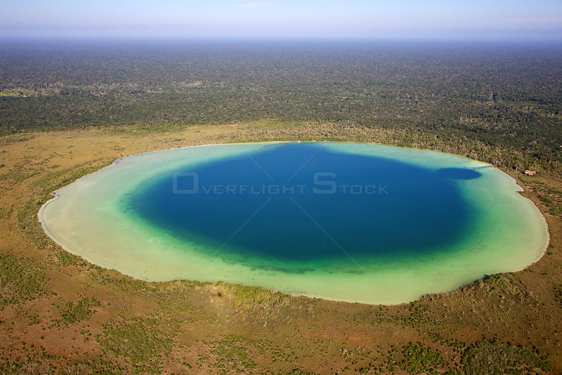 Aerial shot of the Laguna Chumkapo, Quintana Roo, Yucat n Peninsula, Mexico. February 2014.