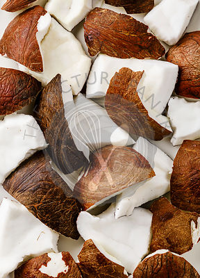 Fresh coconut pieces background close-up