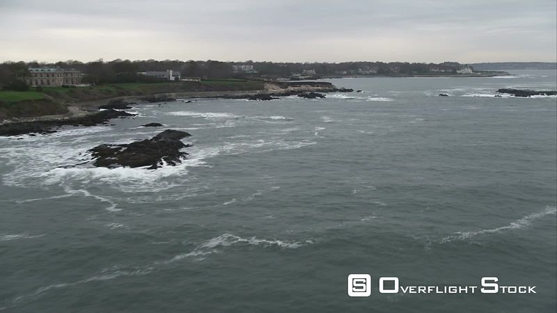 Over Rocky Islands Along the Shoreline of Newport, Rhode Island. Shot in November