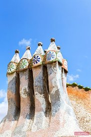 Chimneys on the roof of Casa Battlo, Barcelona, Spain